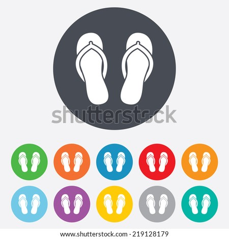 Flip-flops sign icon. Beach shoes. Sand sandals. Round colourful 11 buttons. - stock photo
