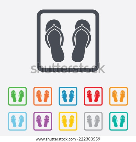 Flip-flops sign icon. Beach shoes. Sand sandals. Round squares buttons with frame. - stock photo