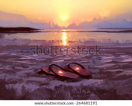 flip flops with lovely hearts on the beach at sunset ,digital painting - stock photo
