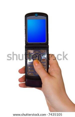 Flip mobile phone in hand, isolated on white background - stock photo
