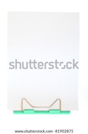 Flipchart on easel card holder with blank white - stock photo