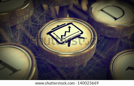 Flipchart on Old Typewriter Button. Education Concept. Grunge Background for Your Publications. - stock photo
