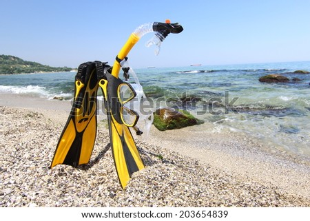 Flippers, mask and snorkel lying on sandy beach. Sea and sky background.