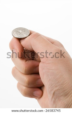 flipping coin close up shot, concept of Decision - stock photo
