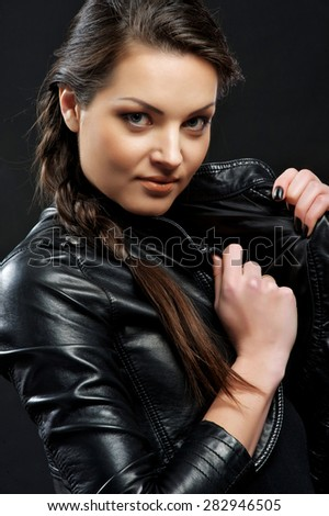 flirty in a leather jacket