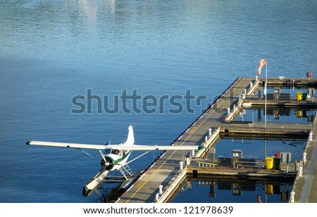 Float plane waiting at the port in Vancouver, Canada - stock photo