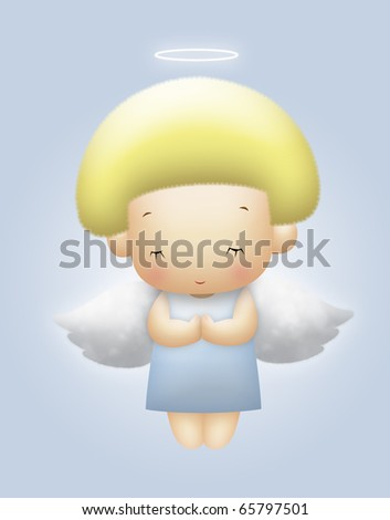 Floating angel with yellow hair praying. - stock photo