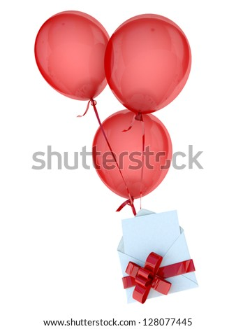 Floating balloons holding a blank white card in an envelope, attached by a red bow - stock photo