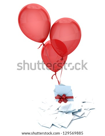 Floating balloons holding an envelope with a red bow, over a pile of blank, cards and envelopes - stock photo