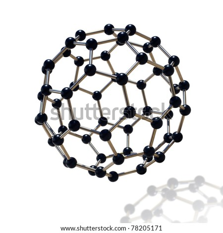 floating black and chrome molecule over white background - stock photo