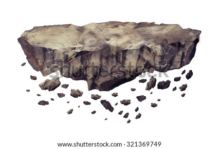 Floating crumbling rock Isolated on a white background - stock photo