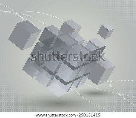 Floating 3d cube with moving segmented parts on light gray background and elegant curved lines - stock photo