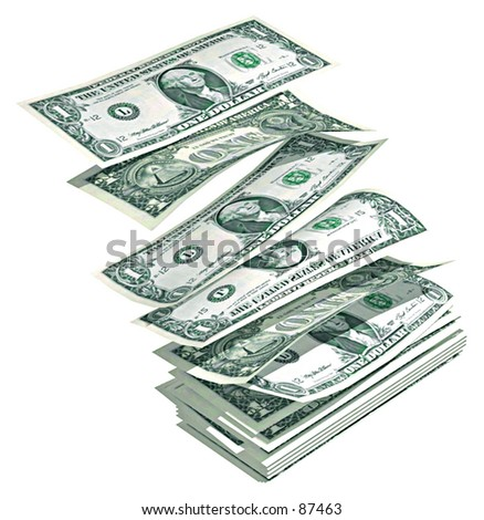 Floating dollars - stock photo