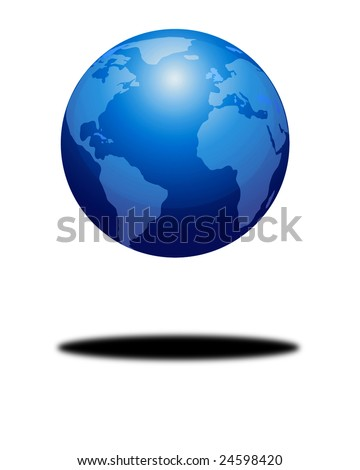 floating earth on a solid white background