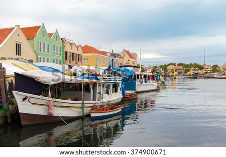 Floating Fish Market - Willemstad Curacao - stock photo