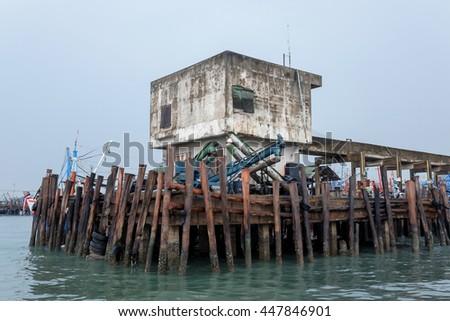 Floating fishing village - stock photo