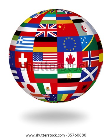 Floating globe covered with world flags - stock photo