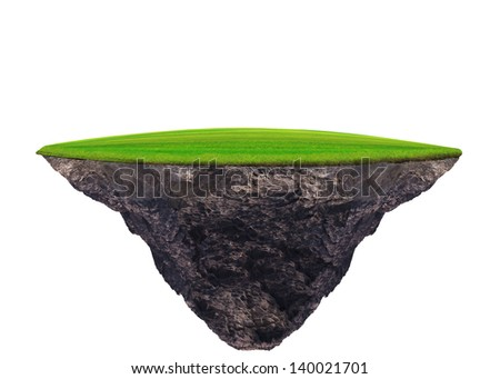floating green grass field on white use for multipurpose background - stock photo