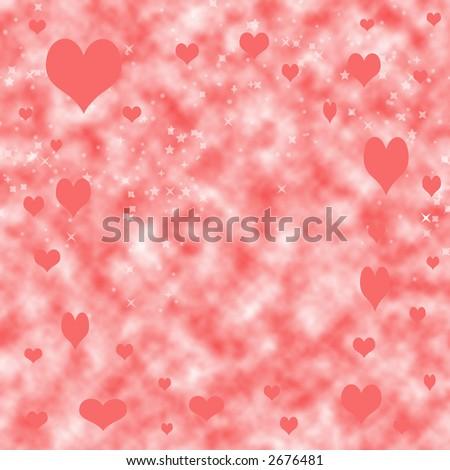 Floating hearts background. - stock photo