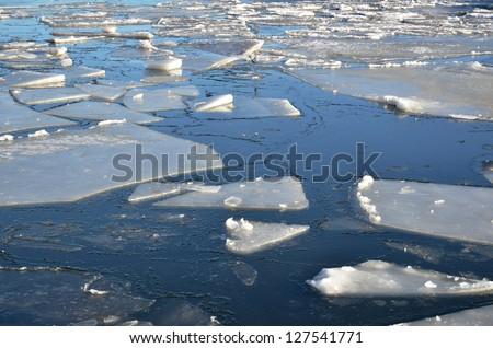 Floating ice blocks - stock photo