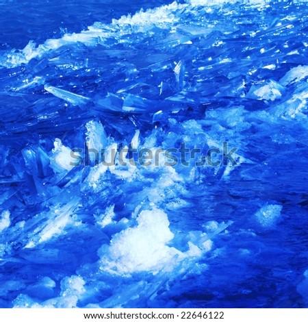 floating ice shards background - stock photo