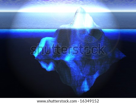 Floating Iceberg in the Open Ocean with Horizon - stock photo