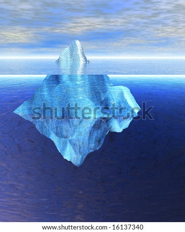 Floating Iceberg in the Open Ocean with Horizon During the day daylight - stock photo