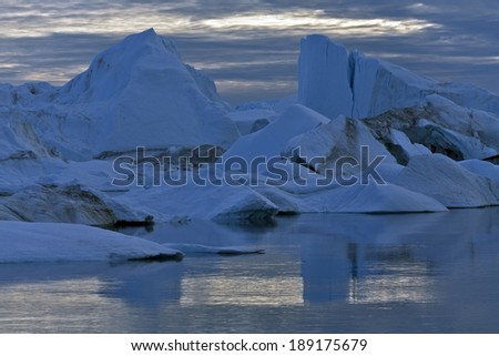 Floating icebergs in Ilulissat Icefjord, Greenland