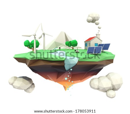 Floating island and house support by solar and wind power - stock photo
