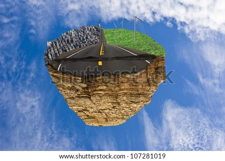 Floating island with road between city life and green life concept - stock photo