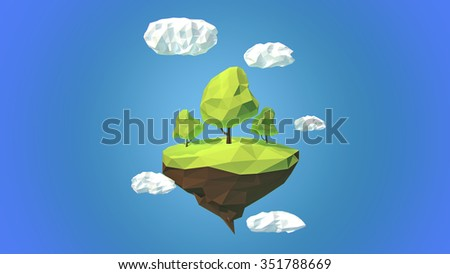 Floating island with trees  and clouds in the sky - stock photo