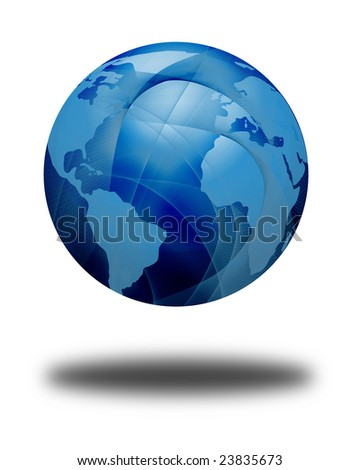 floating isolated globe on a solid white background