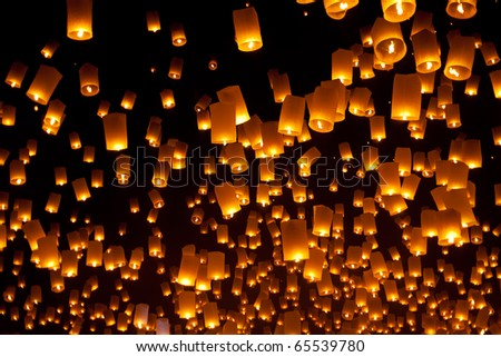 Floating Lantern during Firework Festival in Thailand