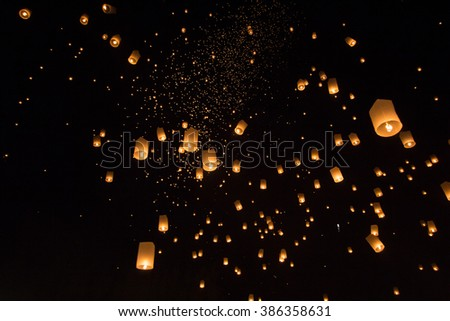 floating lantern on the sky