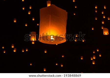 Floating Lantern on Yee Peng festival, thai lanna traditional religion in northern thailand,It seems the stars in the sky - stock photo