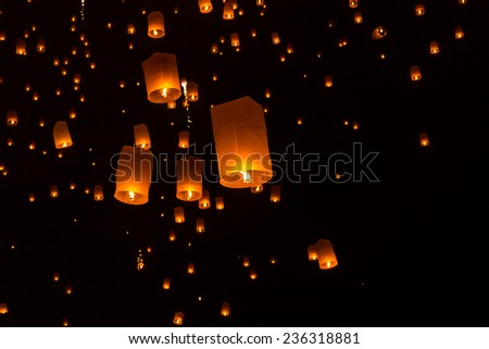 Floating Lantern on Yee Peng festival, thai lanna traditional religion in northern thailand,It seems the stars in the sky