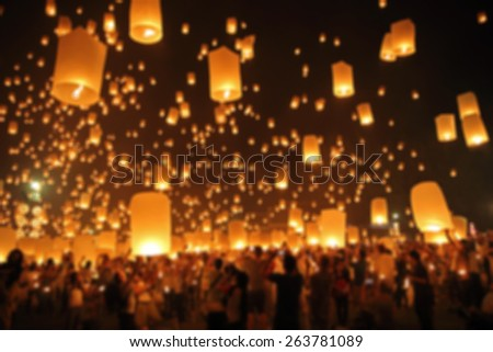 Floating lantern, YeePeng,Firework Festival in Chiangmai Thailand, Blur background - stock photo