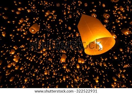 Floating lantern yi peng firework festival in chiangmai thailand - stock photo