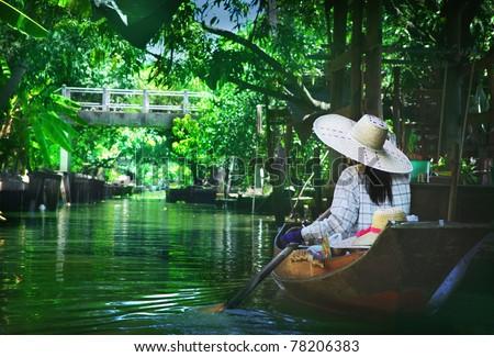 Floating market - stock photo