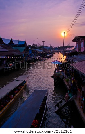 Floating market, Amphawa Thailand - stock photo