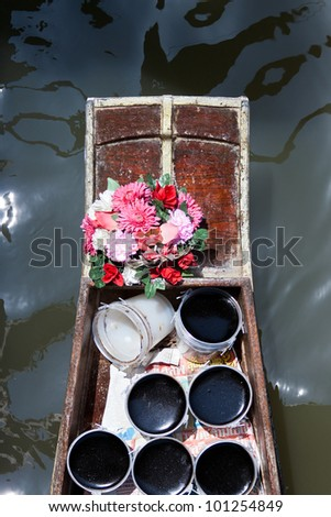Floating market in Damnoen Saduak near Bangkok, Thailand - stock photo