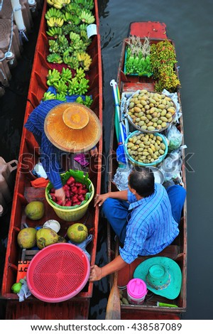 Floating Market in The Morning Thailand - stock photo