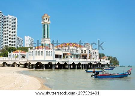 Floating mosque of Tanjung Bungah in Penang, Malaysia, Asia - stock photo