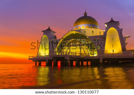 floating mosque via great sunset