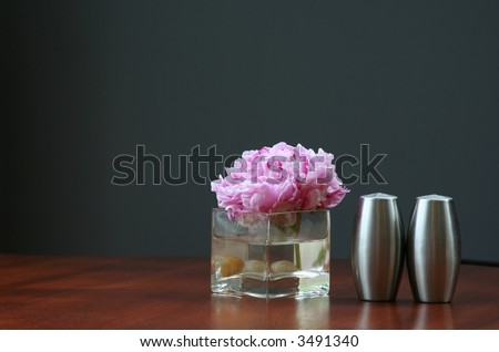 Floating Peony Bud and Salt and Pepper Shaker