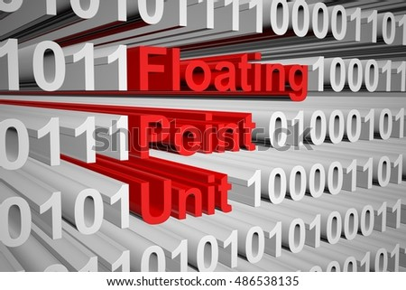 floating point unit in the form of binary code, 3D illustration