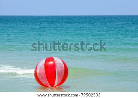 floating red ball at mediterranean sea
