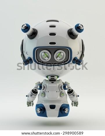 Floating robotic toy backwards - stock photo