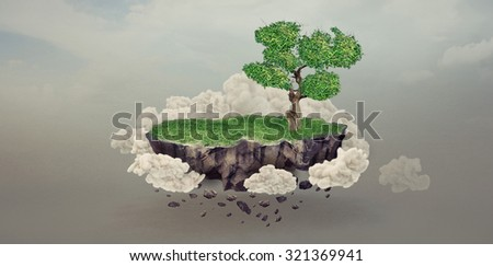 floating rock island with trees and clouds  - stock photo