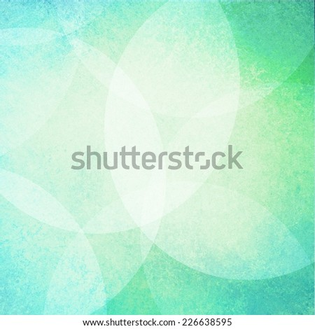 floating round circles background design, layers of white bubbles on blue green background color, magical dreamy bokeh background with white shiny lights - stock photo